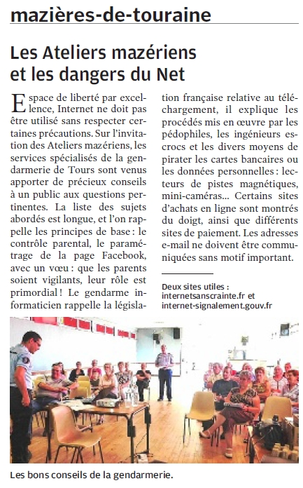 Parution Nouvelle République - Juin 2014